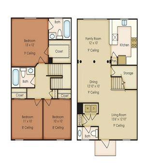 Three Bedroom Floor Plan, Palm Breeze at Keys Gate in Homestead, FL 33035