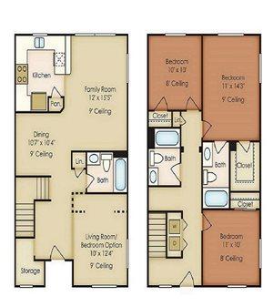 Three Bedroom Floor Plan, Palm Breeze at Keys Gate in Homestead, FL 33035 near Kendall