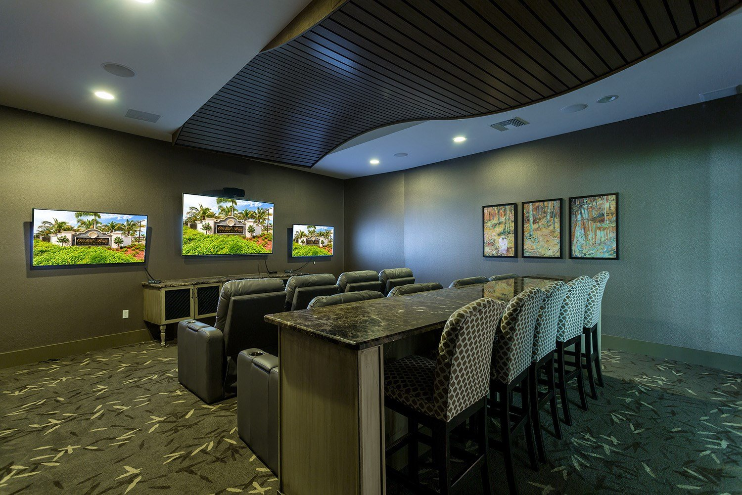 Theater Room at Orchid Run Apartments in Naples, FL