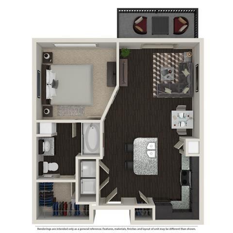 1 Bed 1 Bath 758 -to 960 SQ.FT. floor plan