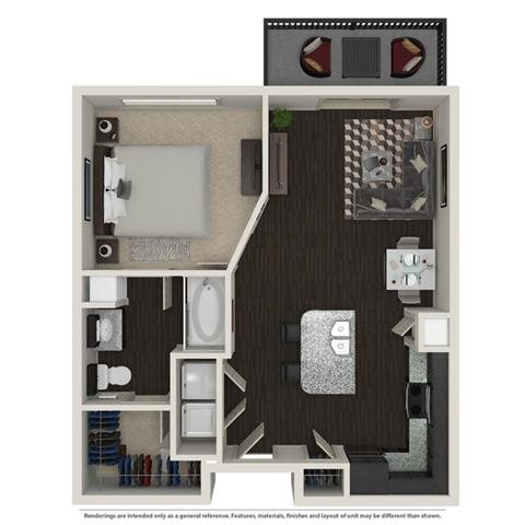 1 Bed 1 Bath Floor Plan 2