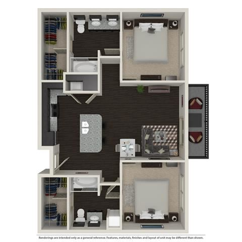 2 Bed 2 Bath 1003 -to 1221 SQ.FT. floor plan