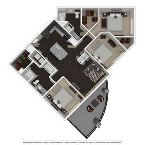 3 Bed 2 bath 1313 -to 1422 SQ.FT. floor plan