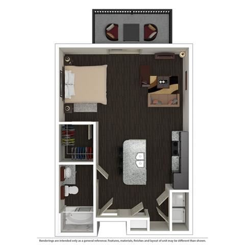 Studio, 1 Bath, 598 SQ.FT. floor plan