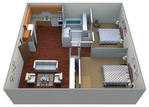 2 Bedroom, 1 Bathroom | Small