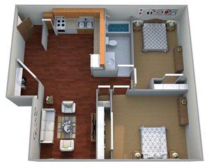 2 Bedroom, 1 Bathroom | Medium