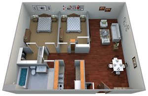 2 Bedroom, 1 Bathroom | Large