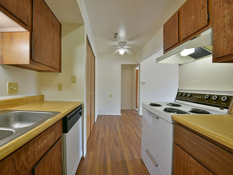 Kitchen with Hardwood Flooring  at Woodland Place, Michigan, 48640