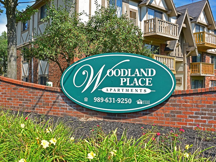 Main Entrance Sign at Woodland Place, Midland, MI