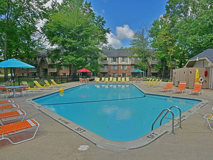 Swimming Pool and Sundeck at Woodland Place, Midland, MI, 48640