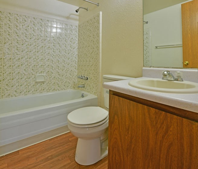 Bathroom with Hardwood Flooring at Huntington Place, Michigan
