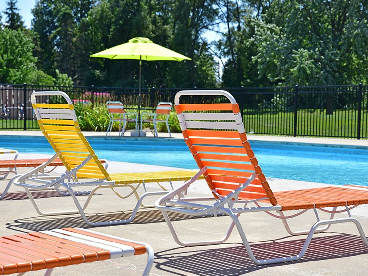 Poolside Lounge Chairs at Huntington Place, Essexville