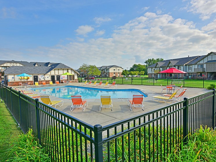 Gated Outdoor Pool at Huntington Place, Michigan, 48732