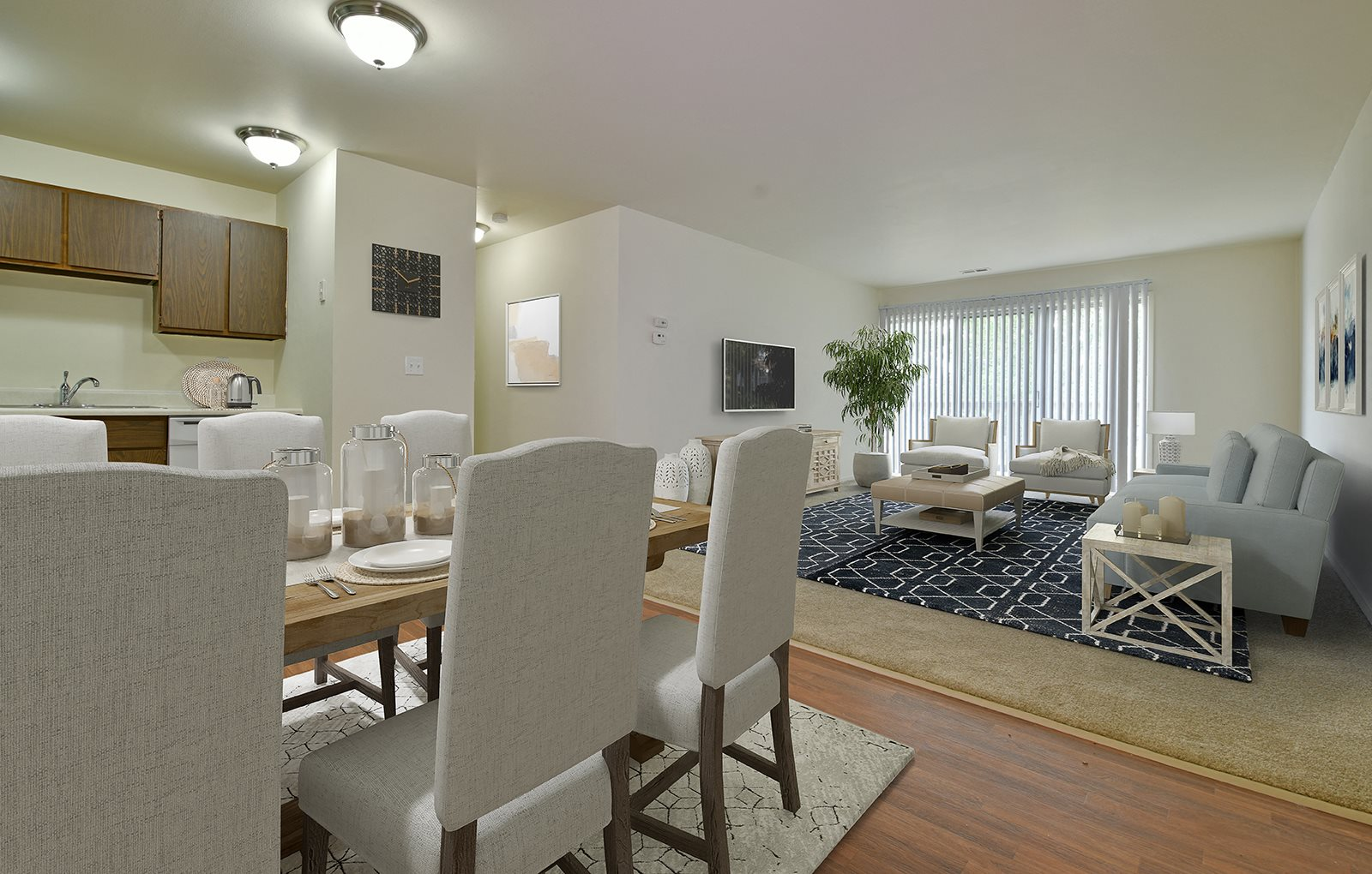 Living Room With Dining Area at Grand Bend Club Apartments, Grand Blanc, Michigan