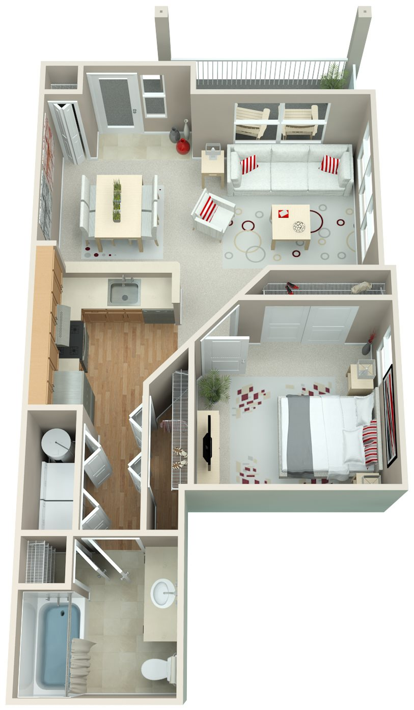 Springwater Crossing_Gresham OR_Floor Plan_One Bedroom Flat