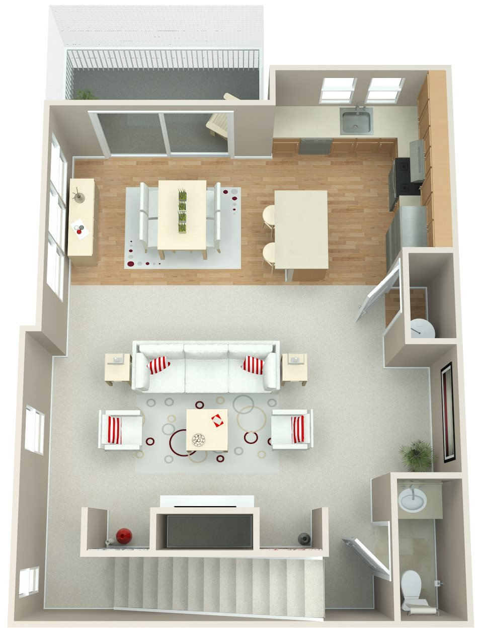 Springwater Crossing_Gresham OR_Floor Plan_Three Bedroom Two Bathroom Apartment