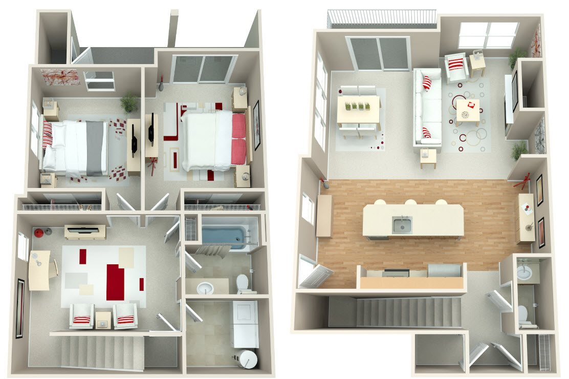 Springwater Crossing_Gresham OR_Floor Plan_Two Bedroom One and a Half Bathroom Townhome