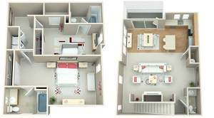 Two Bedroom Two and Half Bath Floor Plan 3