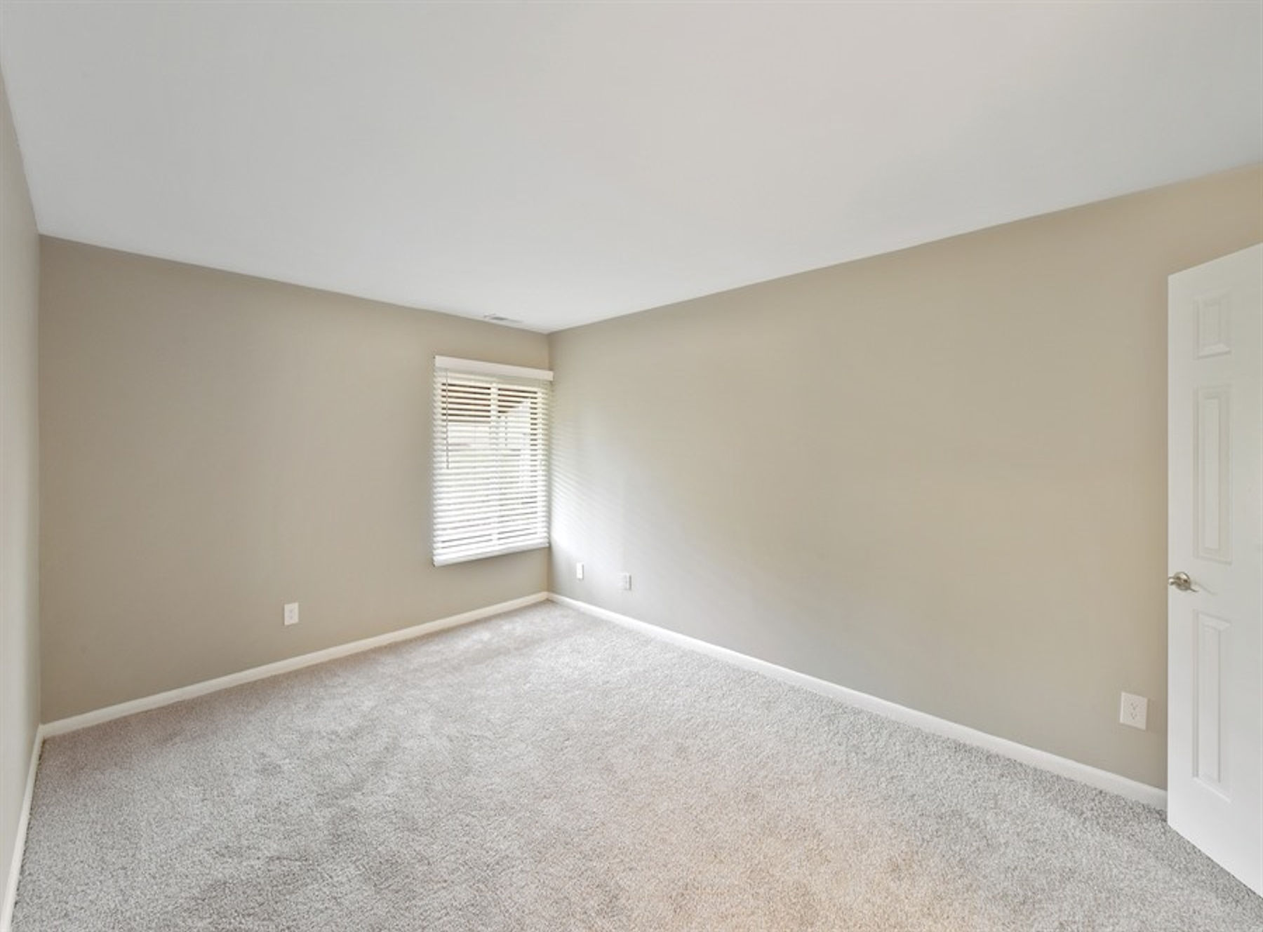 Model bedroom with large window, carpeting, and modern two tone paint.