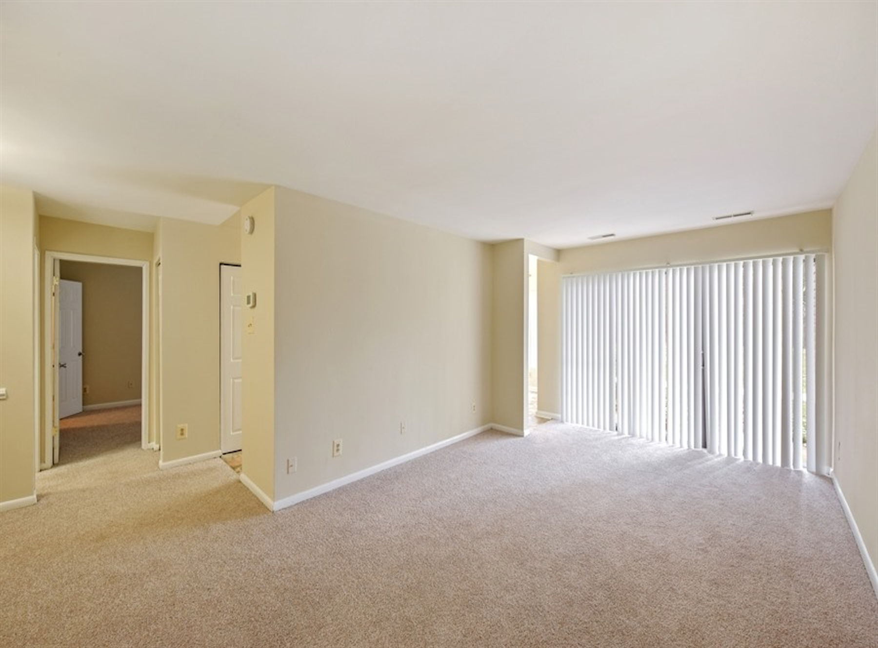 Model living room with large windows, window coverings, carpeting, and two tone paint.