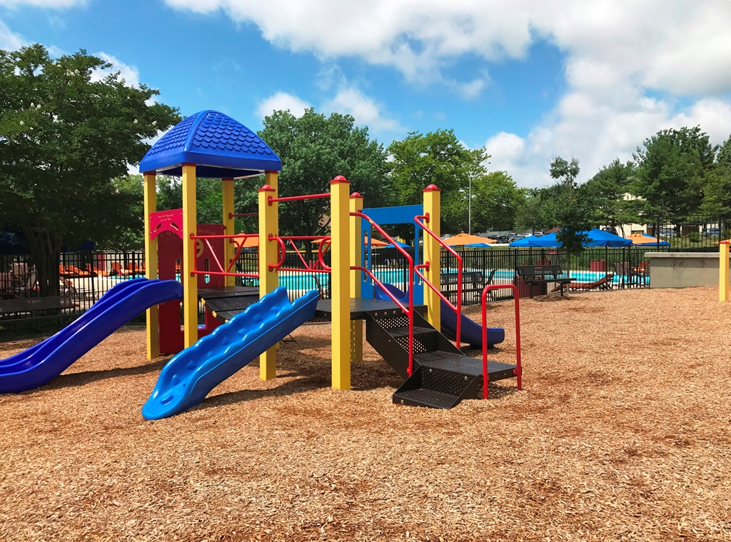 Playground with slides and jungle gym.