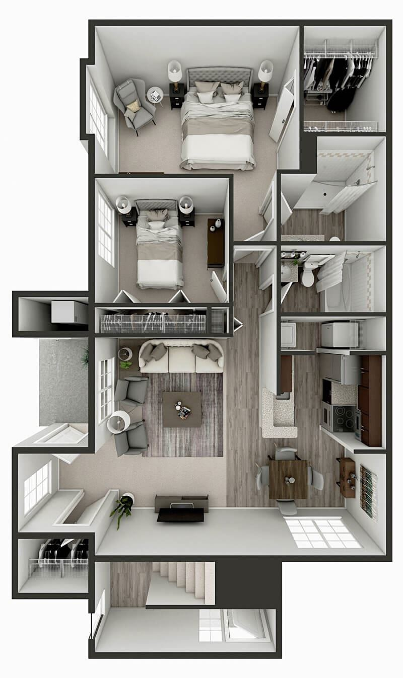 two bed two bath apartment floor plan