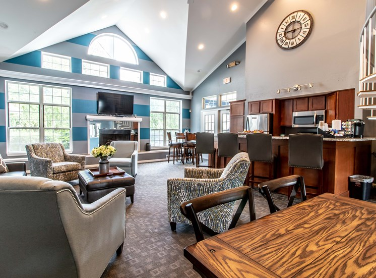 Conversation and Kitchen Area, The Heights in Madison Heights, MI