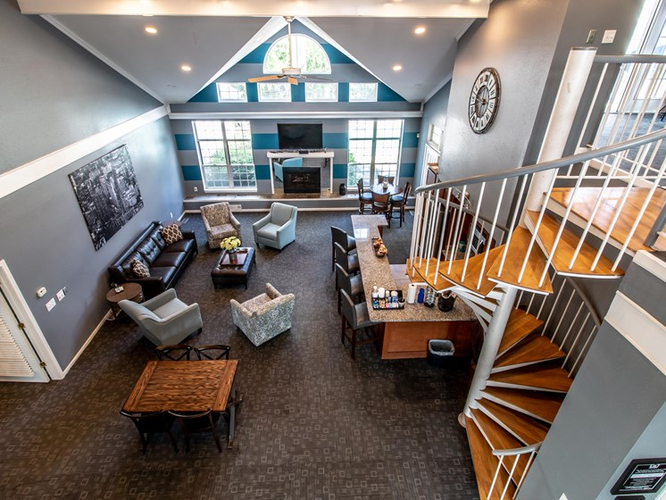 Clubhouse with Resident Business Station at The Heights Apartments in Madison Heights, MI