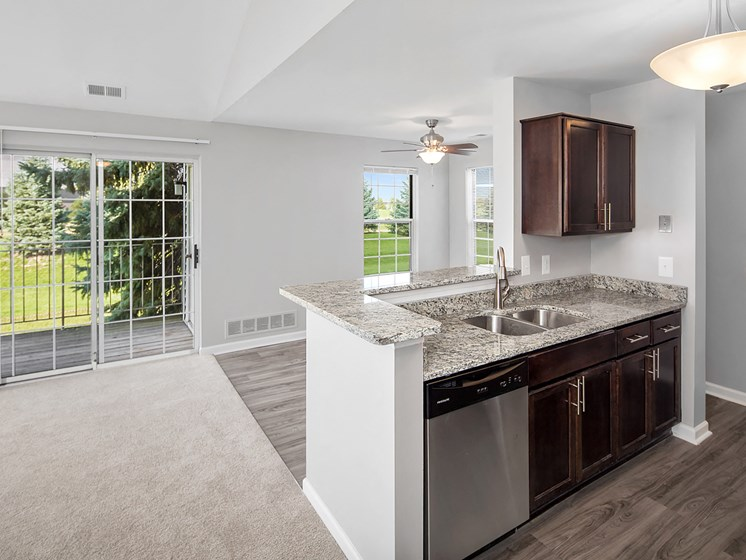 Updated Kitchen at The Heights Apartments in Madison Heights, MI