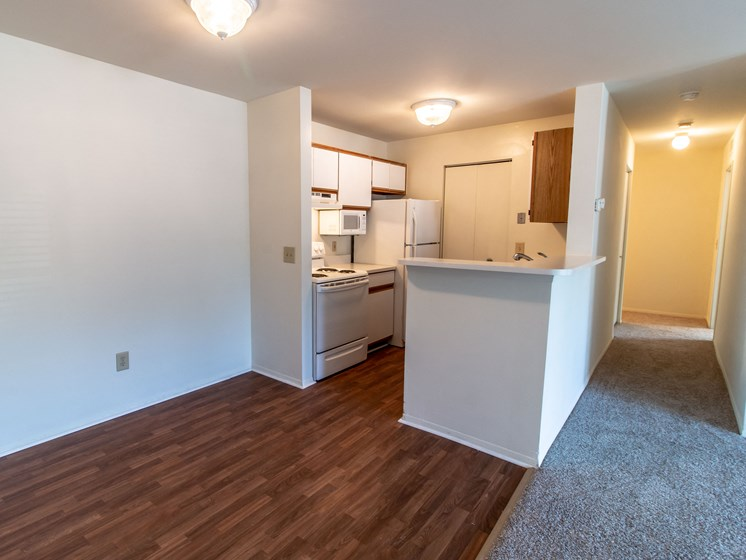 Dining and Kitchen Area at The Heights Apartments in Madison Heights, MI