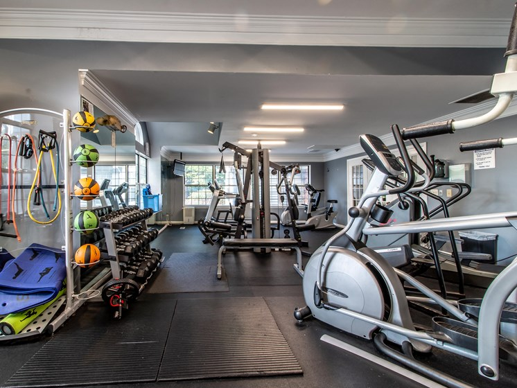 Fitness Center with Free Weights at The Heights Apartments in Madison Heights, MI