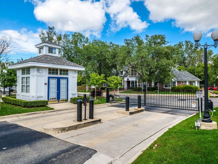 Gated Community Entrance at The Heights Apartments in Madison Heights, MI
