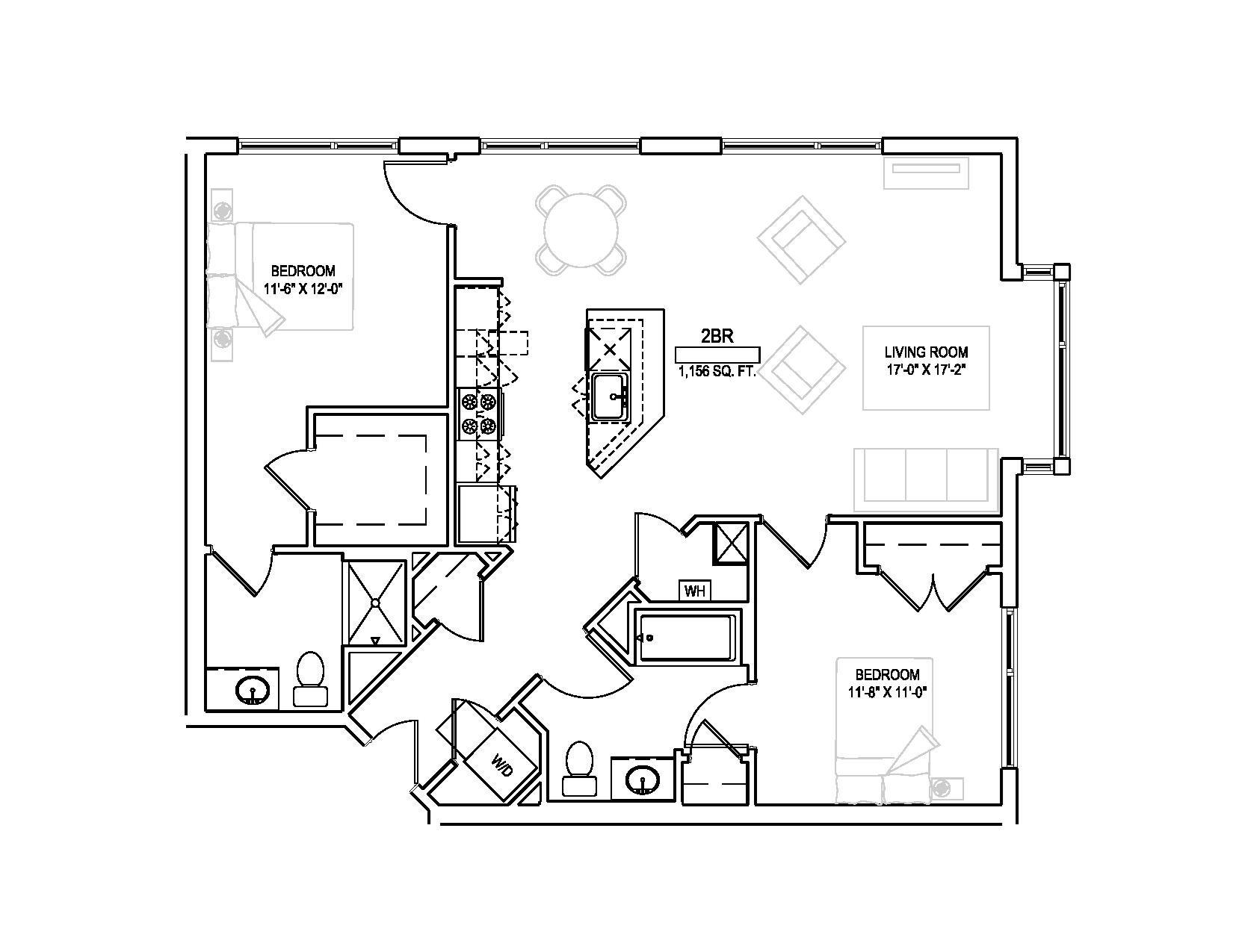 Two bed w/den/Two bath - 1158 sqft. Floor Plan 5