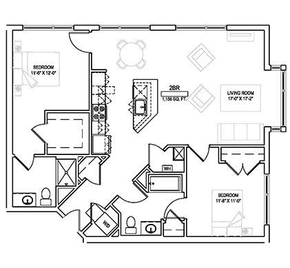 Two bed w/den/Two bath - 1156 sqft. Floor Plan 4