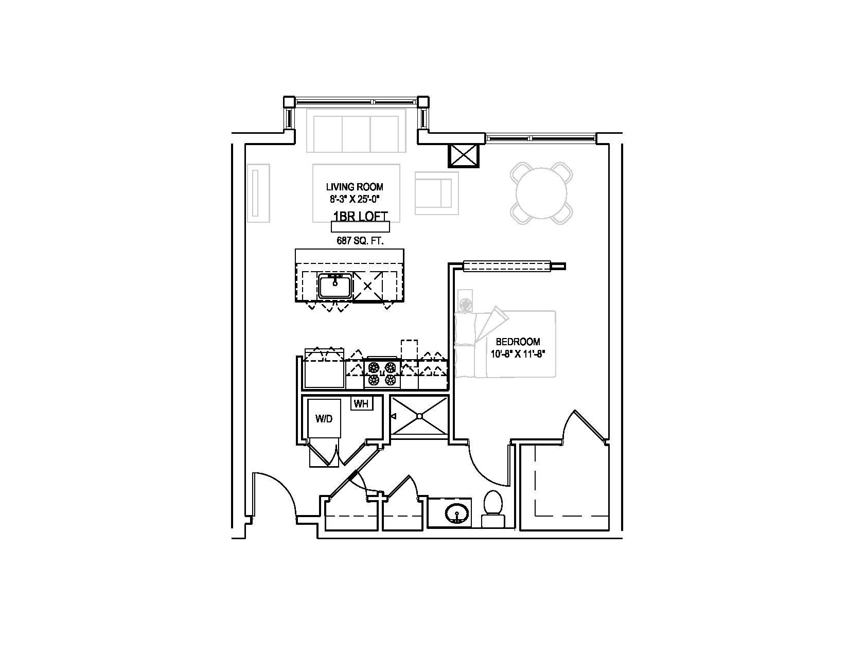 One bed Loft/One bath - 687 sqft. Floor Plan 14