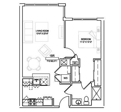 One bed/One bath - 712 sqft. Floor Plan 3