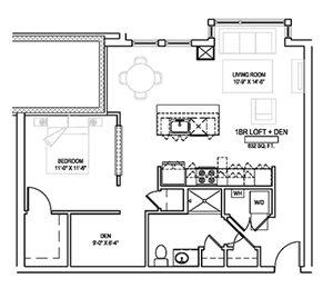 One bed/One bath - 832 sqft.