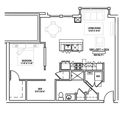 One bed/One bath - 832 sqft. Floor Plan 13