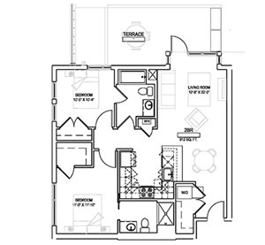 Two bed/Two bath - 912 sqft.