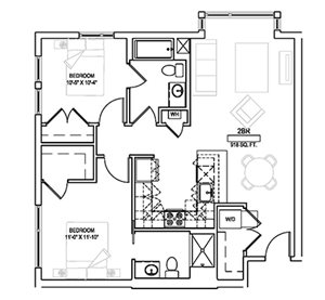 Two bed/Two bath - 918 sqft.