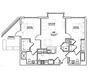 Two bed/Two bath - 997 sqft.