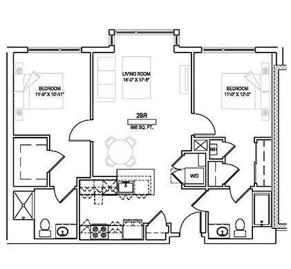 Two bed/Two bath - 998 sqft Floor Plan 10
