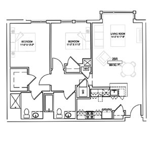 Two bed/Two bath - 999 sqft.
