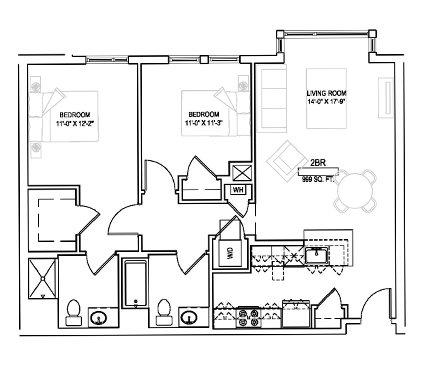 Two bed/Two bath - 999 sqft. Floor Plan 11