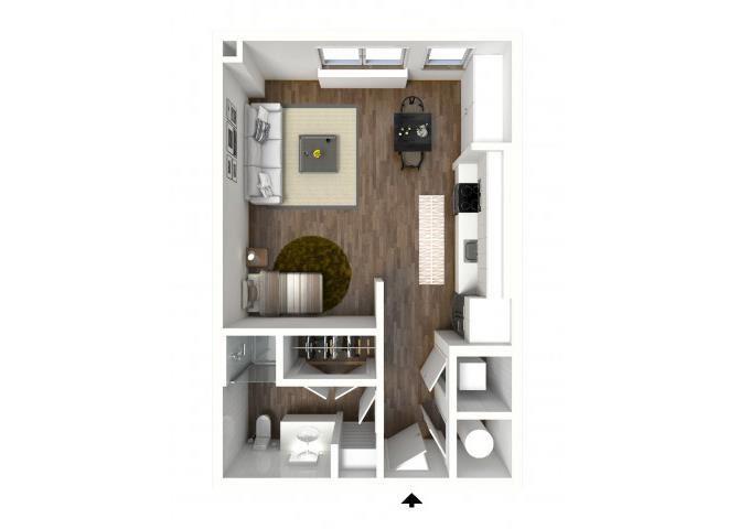 Studio Floor Plan, at 1415 @ The Yard, 1415 Cuming Street, Omaha, NE 68102