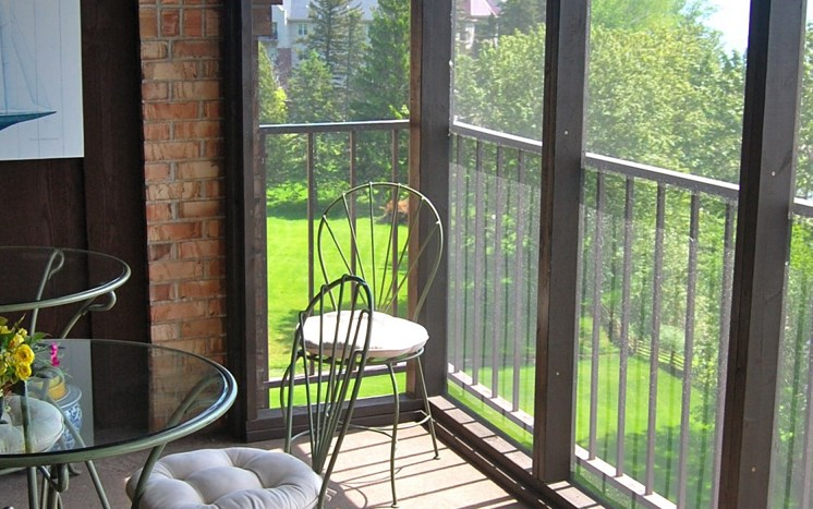 Private patio with view at Les Chateaux Apartments in Duluth Minnesota