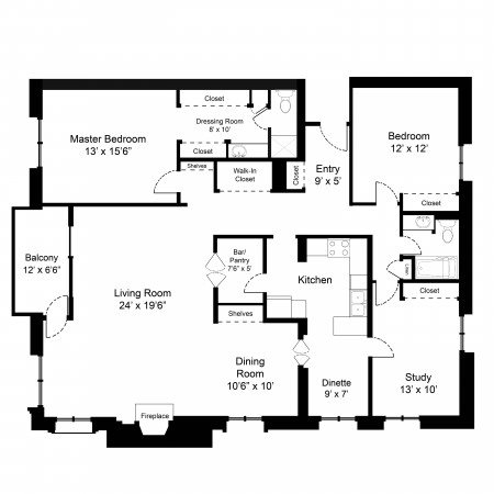 B-3/bed 1.75/bath + balcony Floor Plan 7