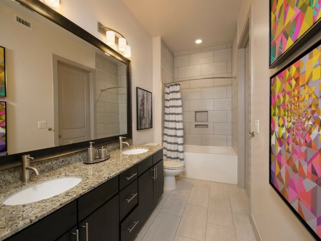 Custom Framed Bathroom Mirrors at Midtown Houston by Windsor, Houston, Texas