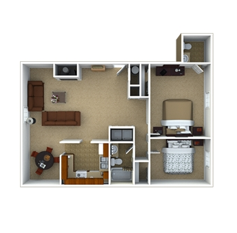 2 bedroom 1.5 Bath Floor Plan 4