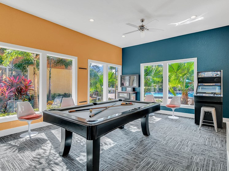 Pool table, game room, arcade- clubhouse